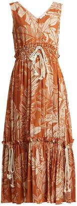 See by Chloe Drawstring-waist jungle-print cotton-blend dress