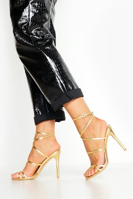 boohoo Skinny Strap Wrap Up Stiletto Heels