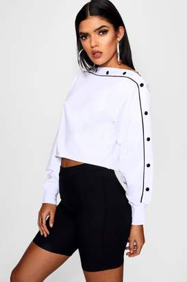 boohoo Diagonal Popper Sweatshirt
