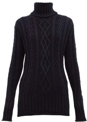 Thom Browne Striped High Neck Wool Sweater - Womens - Navy
