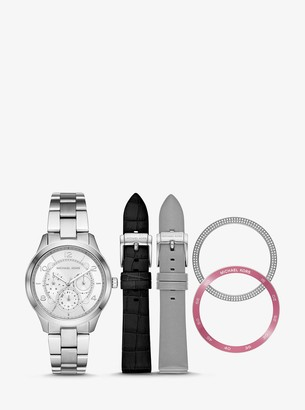 Michael Kors Runway Silver-Tone and Leather Interchangeable Watch Set