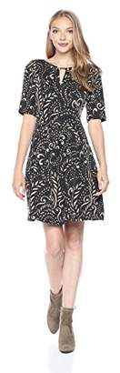 Gabby Skye Women's Printed Fit and Flare Key Hole Dress