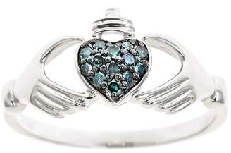 Affinity Diamond Jewelry Blue Diamond Claddagh Ring, Sterling, 1/10cttwby Affinity