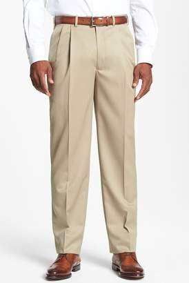 JB Britches Double Pleated Super 100s Worsted Wool Trousers