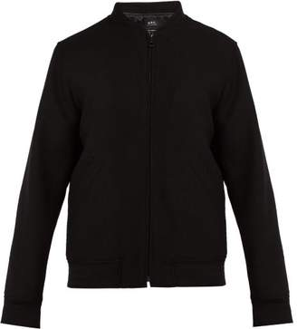 A.P.C. Barrett Wool Blend Bomber Jacket - Mens - Black