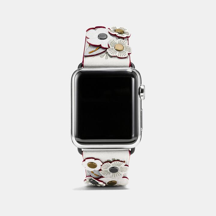 Coach  COACH Coach Apple Watch Tea Rose Applique Leather Strap
