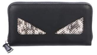Fendi Snakeskin-Trimmed Monster Wallet