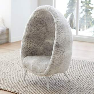 Pottery Barn Teen Gray Leopard Faux-Fur Cave Chair