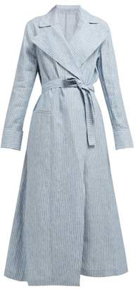 Giuliva Heritage Collection The Belinda Striped Linen Trench Coat - Womens - Blue Multi