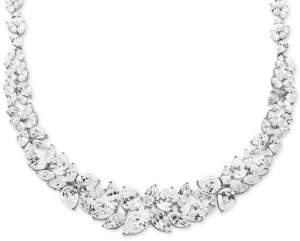 """Arabella Cubic Zirconia Cluster 16"""" Collar Necklace in Sterling Silver"""