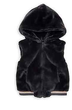 Imoga Little GIrl's & Girl's Hooded Faux Fur Vest