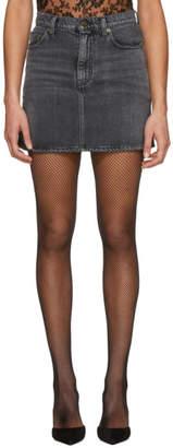 Saint Laurent Grey Classic Denim Miniskirt