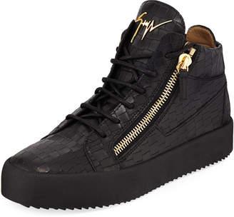 Giuseppe Zanotti Men's Embossed Leather Mid-Top Sneakers