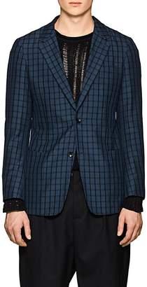 TOMORROWLAND Men's Plaid Silk Seersucker Two-Button Sportcoat