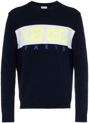 Kenzo logo intarsia knitted cotton blend jumper
