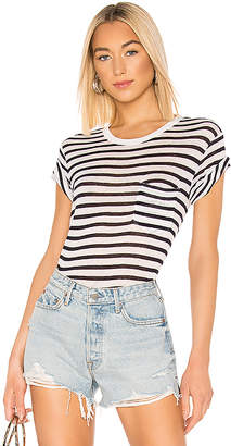Alexander Wang Classic Striped Slub Jersey Short Sleeve With Pocket Tee