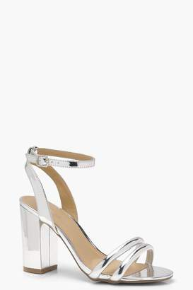 boohoo Double Ankle Wrap Strap Heels