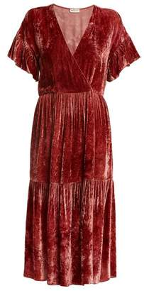 Masscob Deep V-neck velvet midi dress
