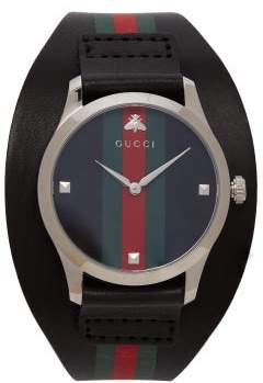 Gucci G Timeless Web Leather Watch - Mens - Black Green