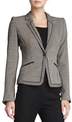 Rena Lange Geometric Jersey One-Button Jacket