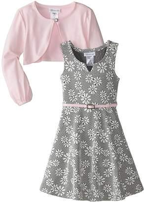 Bonnie Jean Big Girls' Knit Jaquard Dress with Cardigan