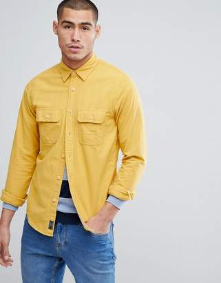 Abercrombie & Fitch Chamois Cotton Shirt Regular Fit in Yellow