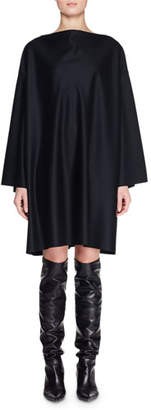The Row Harper High-Neck Dolman-Sleeve Shift Knee-Length Wool Dress