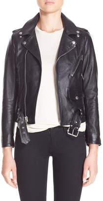 Saint Laurent Studded Lambskin Leather Moto Jacket