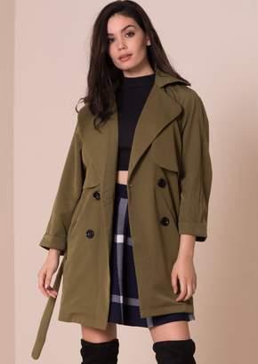 Missy Empire Missyempire Alessa Khaki Trench Coat