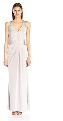 JS Boutique Women's Long Wrap Halter Gown with Beaded Trim,8