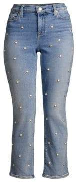 7 For All Mankind Pearl Embellished Cropped Jeans