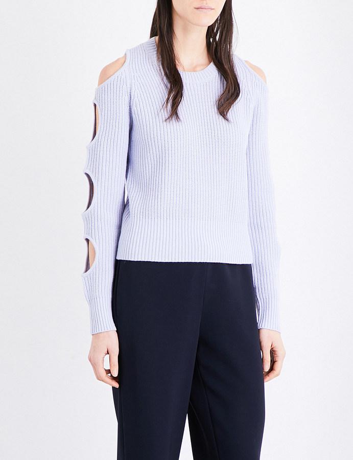 Zoe Jordan Cold-shoulder wool and cashmere-blend jumper