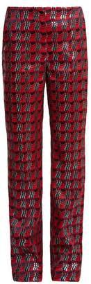 Diane von Furstenberg Waved Check Jacquard Straight Leg Trousers - Womens - Red Multi