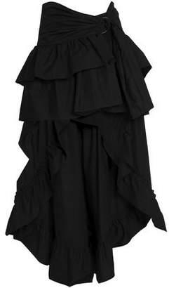 Sandro Asymmetric Ruffled Cotton-poplin Skirt