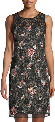Taylor Embroidered Lace Sheath Dress