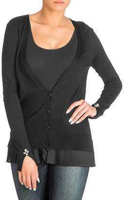 GUESS Betsy Pleated Chiffon Hem Cardigan