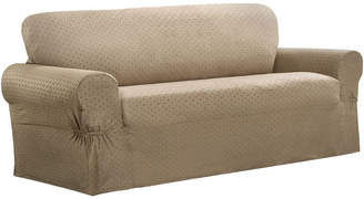 JCPenney Maytex Mills Maytex Smart Cover Conrad Geometric Grid Stretch 1 Piece Loveseat Furniture Cover Slipcover