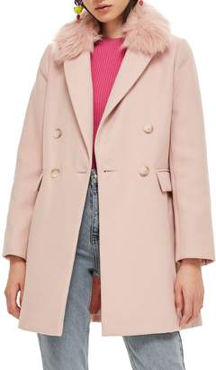 Topshop Naomi Faux Fur Collar Coat