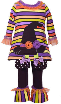 Bonnie Jean 2pc Stripe Witch Hat Legging Set-Baby Girls
