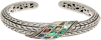 Artisan Crafted Sterling Silver & 18K Gold Abalone Cuff