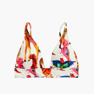 J.Crew Deep V-neck french bikini top in Ratti® animal print
