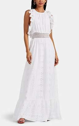 FiveSeventyFive Women's Ruffled Cotton Eyelet Maxi Dress - White