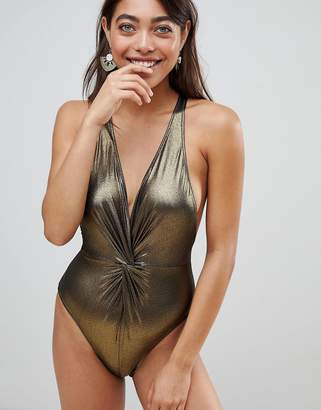 Pistol Panties Gold Metallic Joss Swimsuit