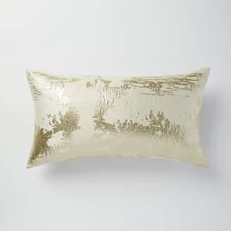 west elm Metallic Clouds Brocade Pillow Cover - Stone
