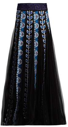 Mary Katrantzou Pillar Embroidered Organza Maxi Skirt - Womens - Black Blue