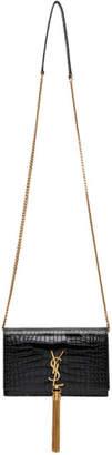 Saint Laurent Black Croc Kate Tassel Chain Wallet Bag
