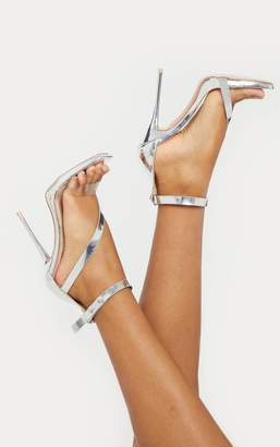 7b111f9cf23f PrettyLittleThing Silver Square Toe Asymmetric Strap Sandal