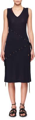 Carven V-Neck Sleeveless Cord-Knit Dress w/ Asymmetric Drawstrings