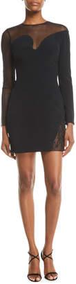 Cushnie Fragmented-Curve Embellished Long-Sleeve Short Cocktail Dress