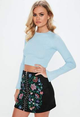 Missguided Blue Crew Neck Ribbed Crop Sweater